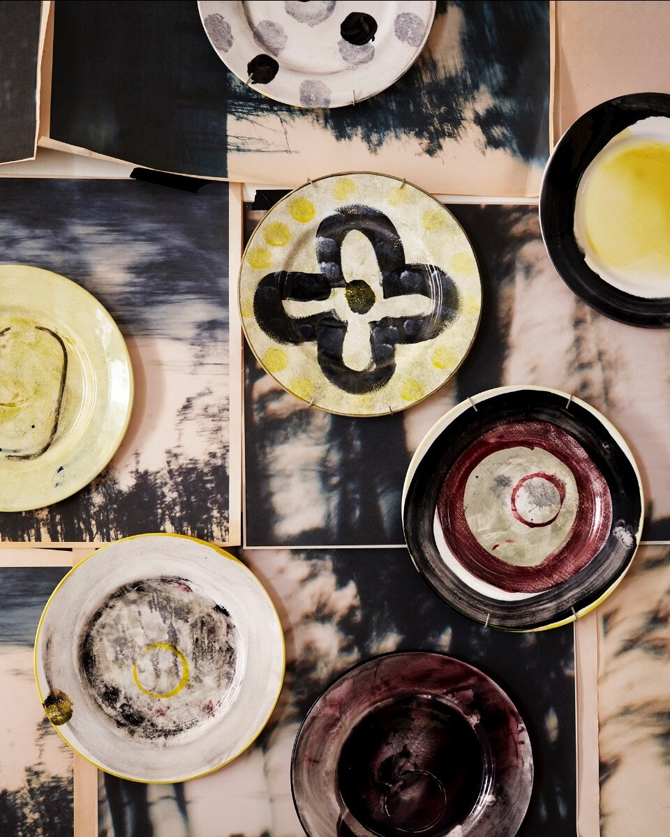 "Hand painted plates from my new collection ""Painted Ware"" with 1882Ltd."