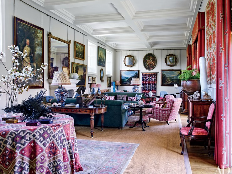 Photo courtesy of Architectural Digest  An interior by Robert Kime that captures British Style in all it's chic, layered coziness