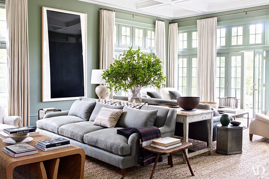 Photo courtesy of Architectural Digest  A light filled room painted in soothing pale green designed by Mark Cunningham on Martha's Vineyard