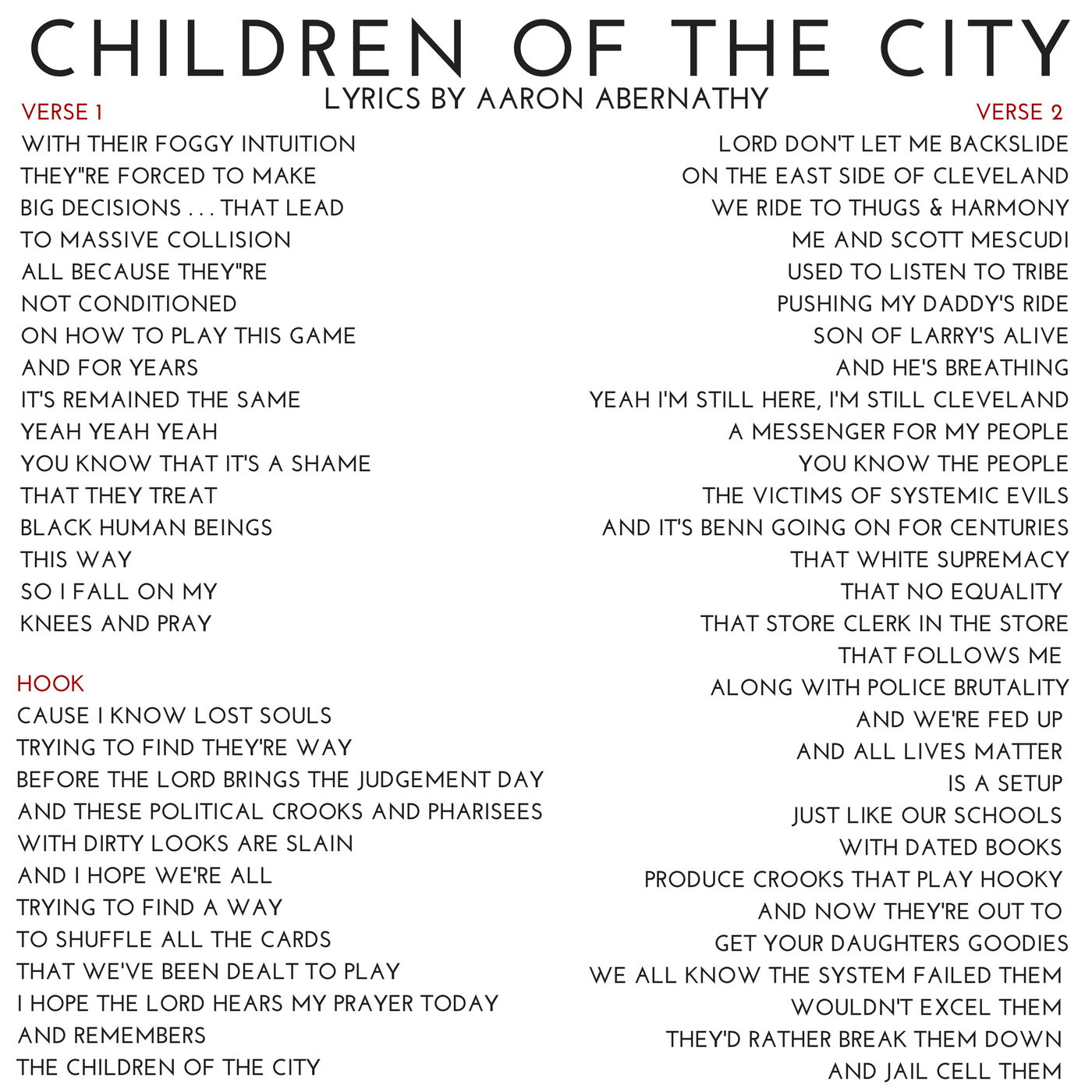 02 CHILDREN OF THE CITY Lyrics by AAron Abernathy.png