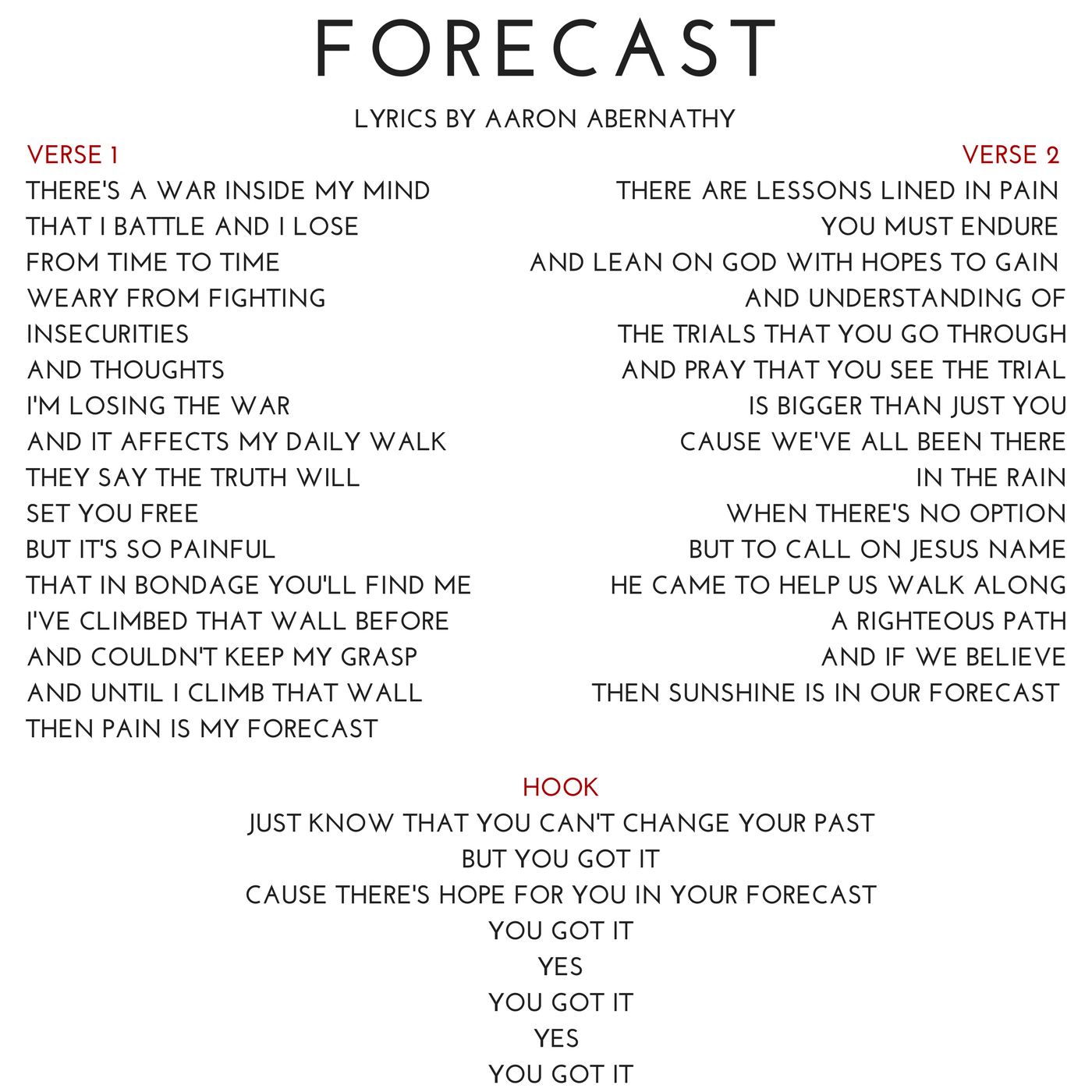 08 FORECAST Lyrics by Aaron Abernathy.png