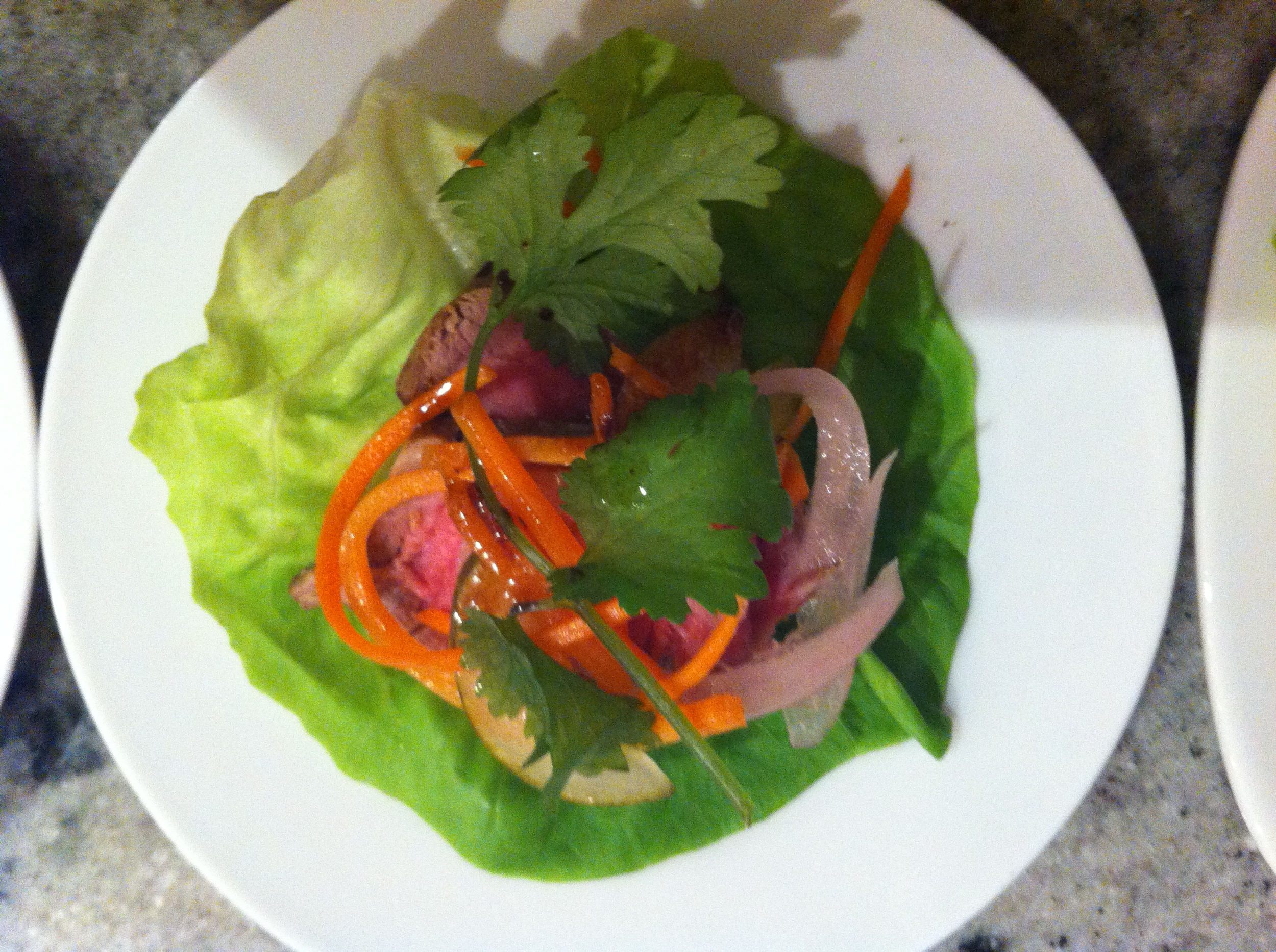 """""""Soy-Glazed Filet Mignon Lettuce Wrap with pickled vegetables and cilantro"""""""