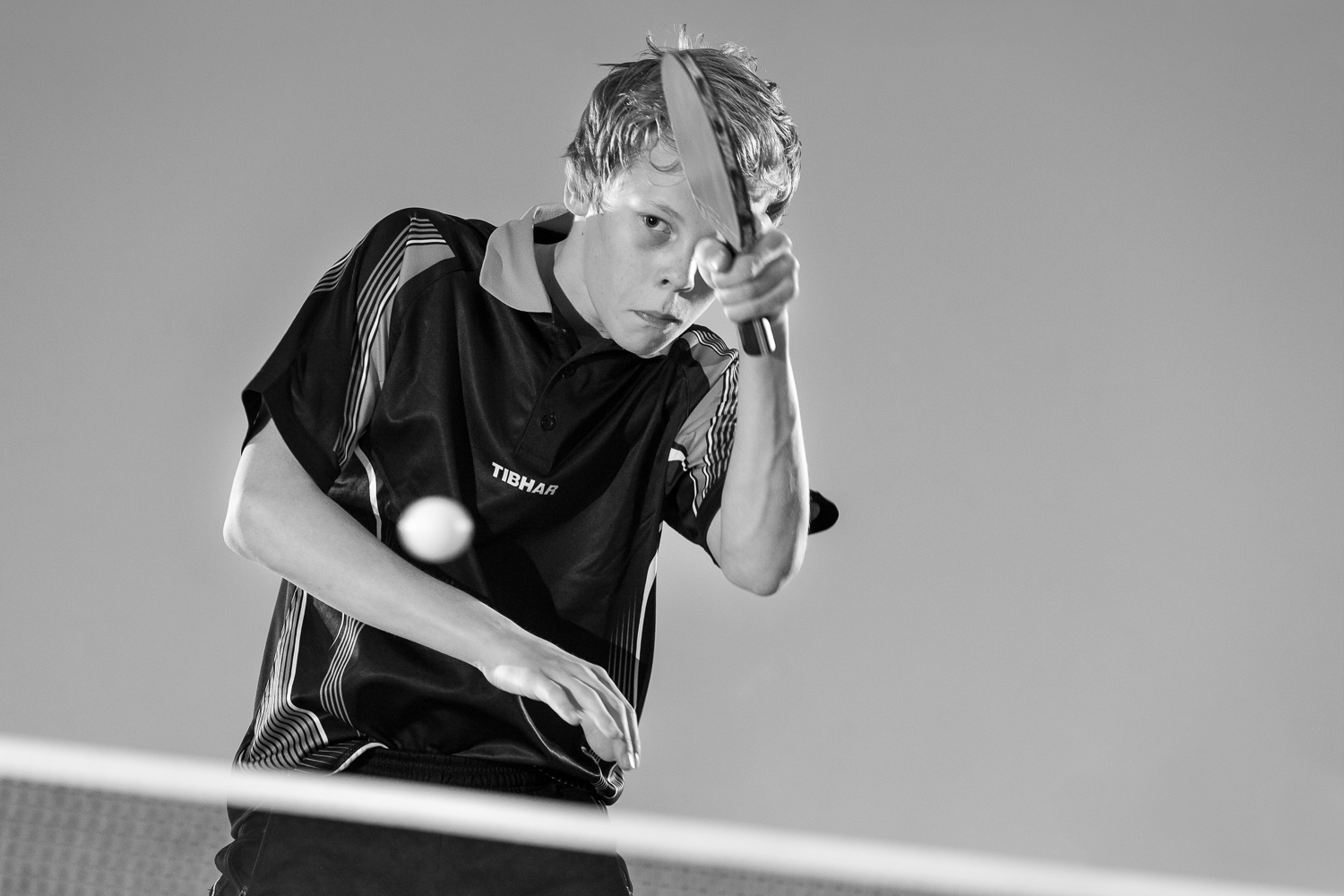 Portrait of a young, and upcoming tabletennis player, training  in Zwolle  for the Olympics.