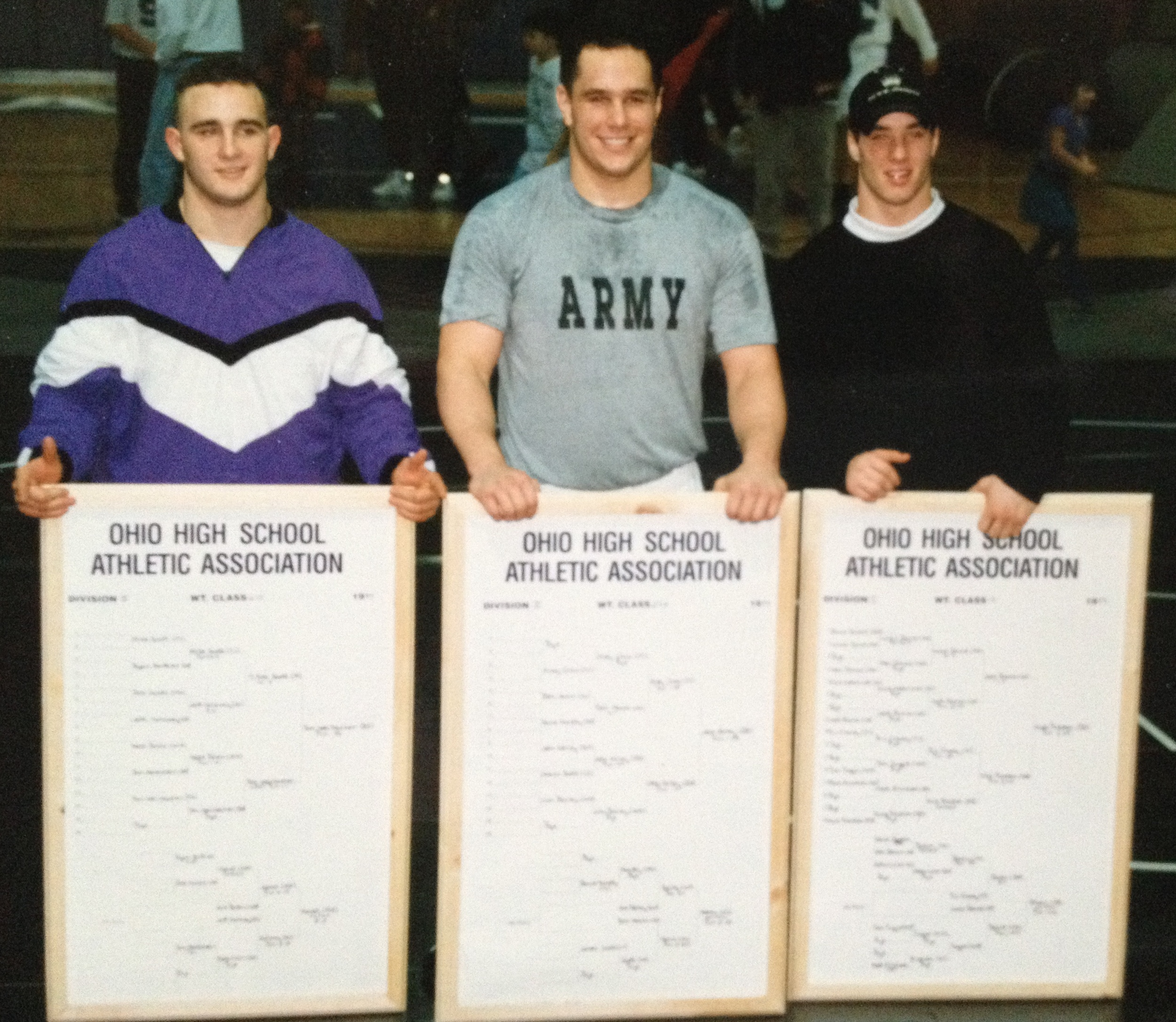 Kelley (middle) with 1997 State Qualifiers Tom Weilbacher (left) and Nick Preston (Right)
