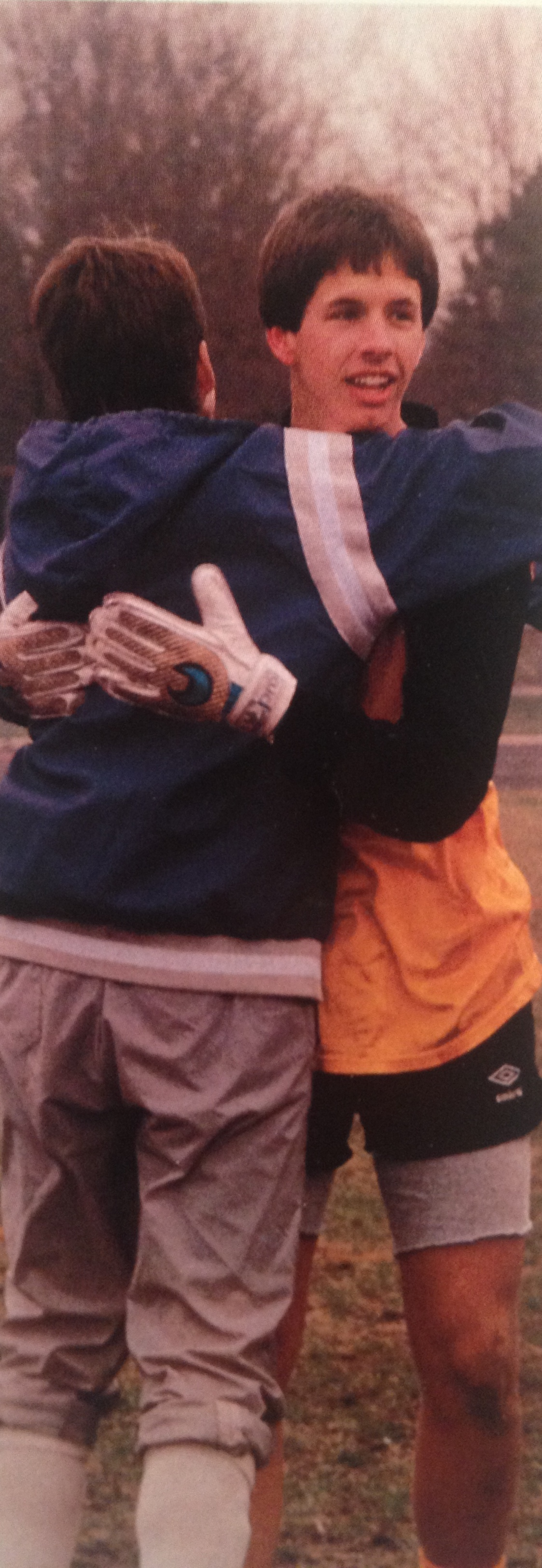 Brian Mirgon and Steve Scialabba embrace after the victory