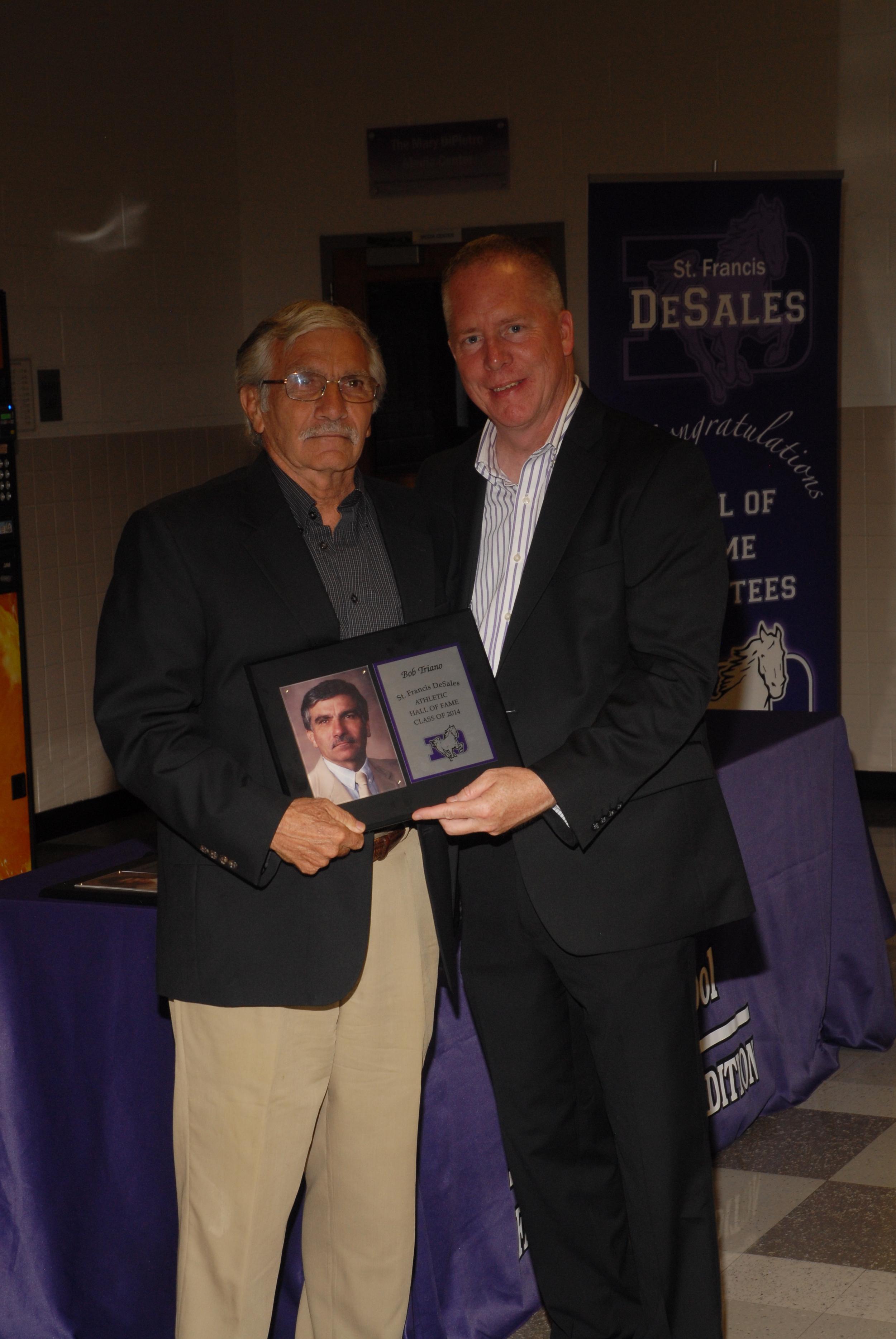 Bob Triano with principal Dan Garrick