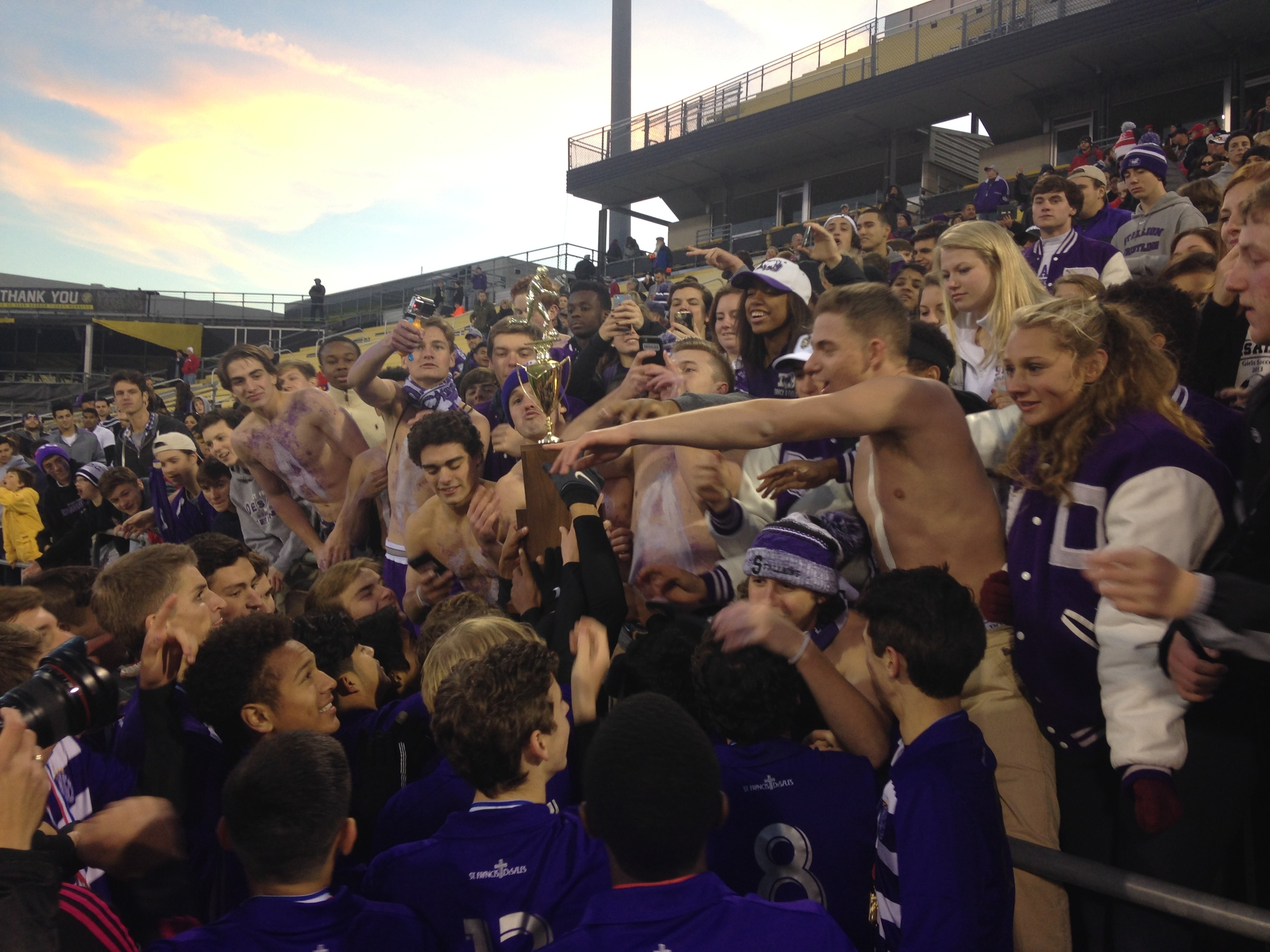 Post-game celebration with the student section