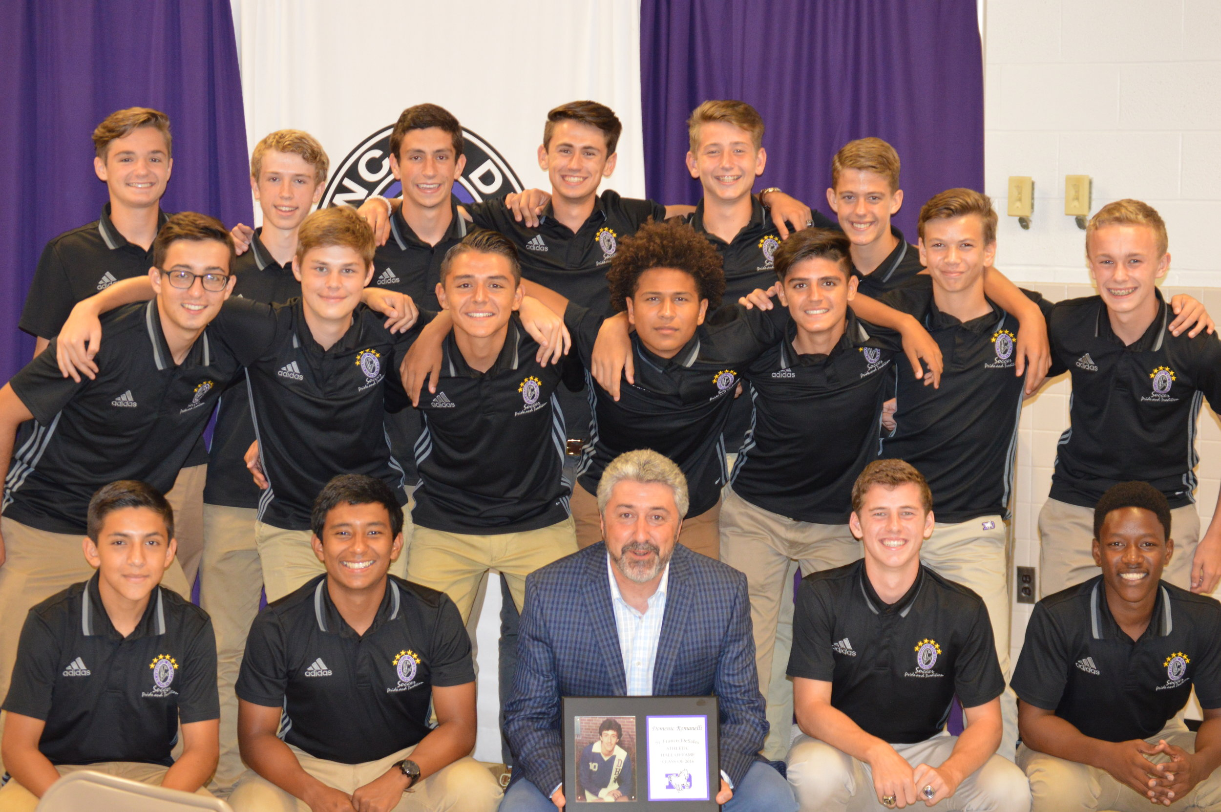 Coach Romanelli with his 2016 Boys Soccer team