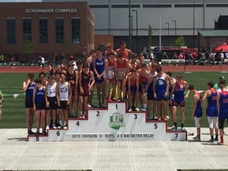 - 4X800M RELAYThe 4x800m Relay team made up of Caden Zellner, Jonathan Pusateri, John Shoemaker, and Ian McCandlish finished 6th in the State with a time of 8:04.15 to earn All-Ohio Honors!
