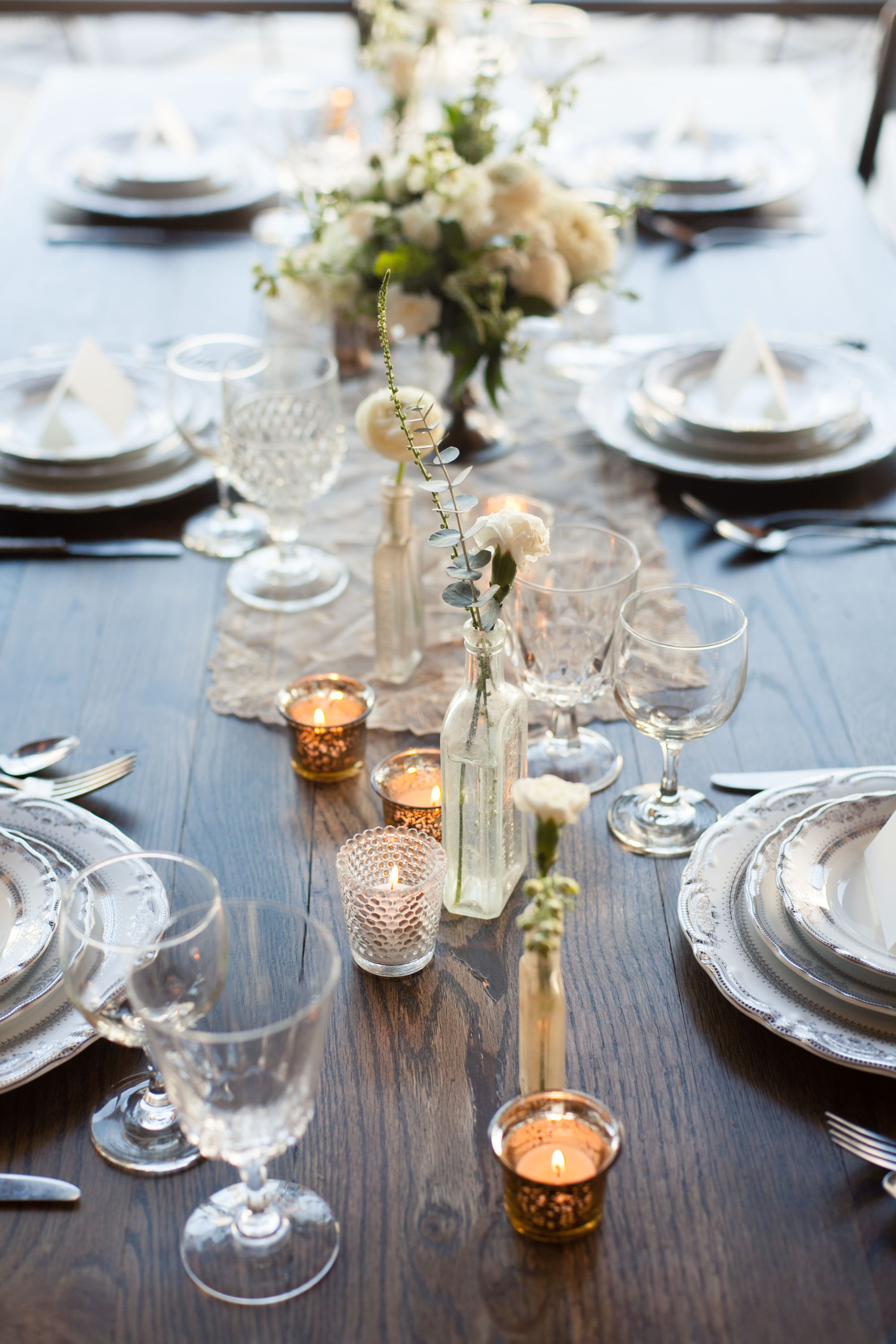 Our last table setting was inspired by Kinfolk and thinking economically. Beauty is not synonymous with high dollar. If you are looking to add a unique touch to your reception but you are on a strict budget this theme would be perfect!