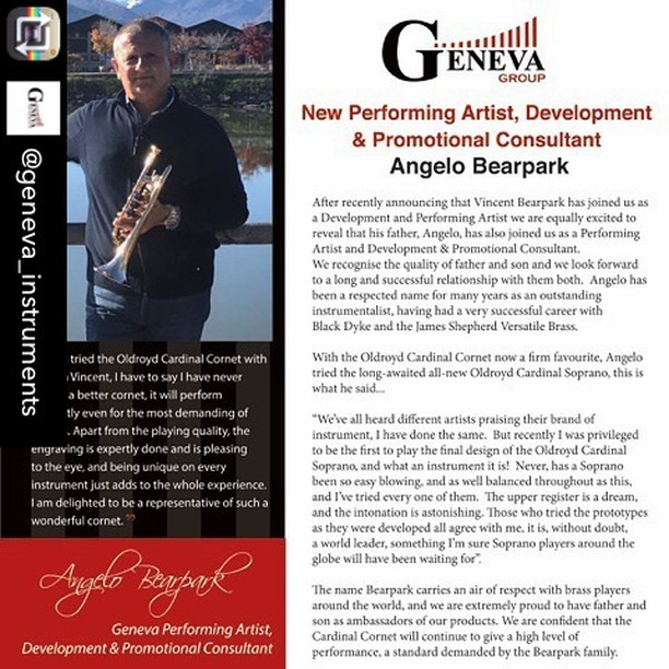 Repost from @geneva_instruments using @RepostRegramApp - Angelo Bearpark, New Performing Artist, Development and Promotional Consultant.  After recently announcing that Vincent Bearpark has joined us as a Development and Performing Artist we are equally excited to reveal that his father, Angelo, has also joined us as a Performing Artist and Devlopment & Promotional Consultant. #genevainstruments  #genevagroup. #cardinalcornet. #cardinalsoprano