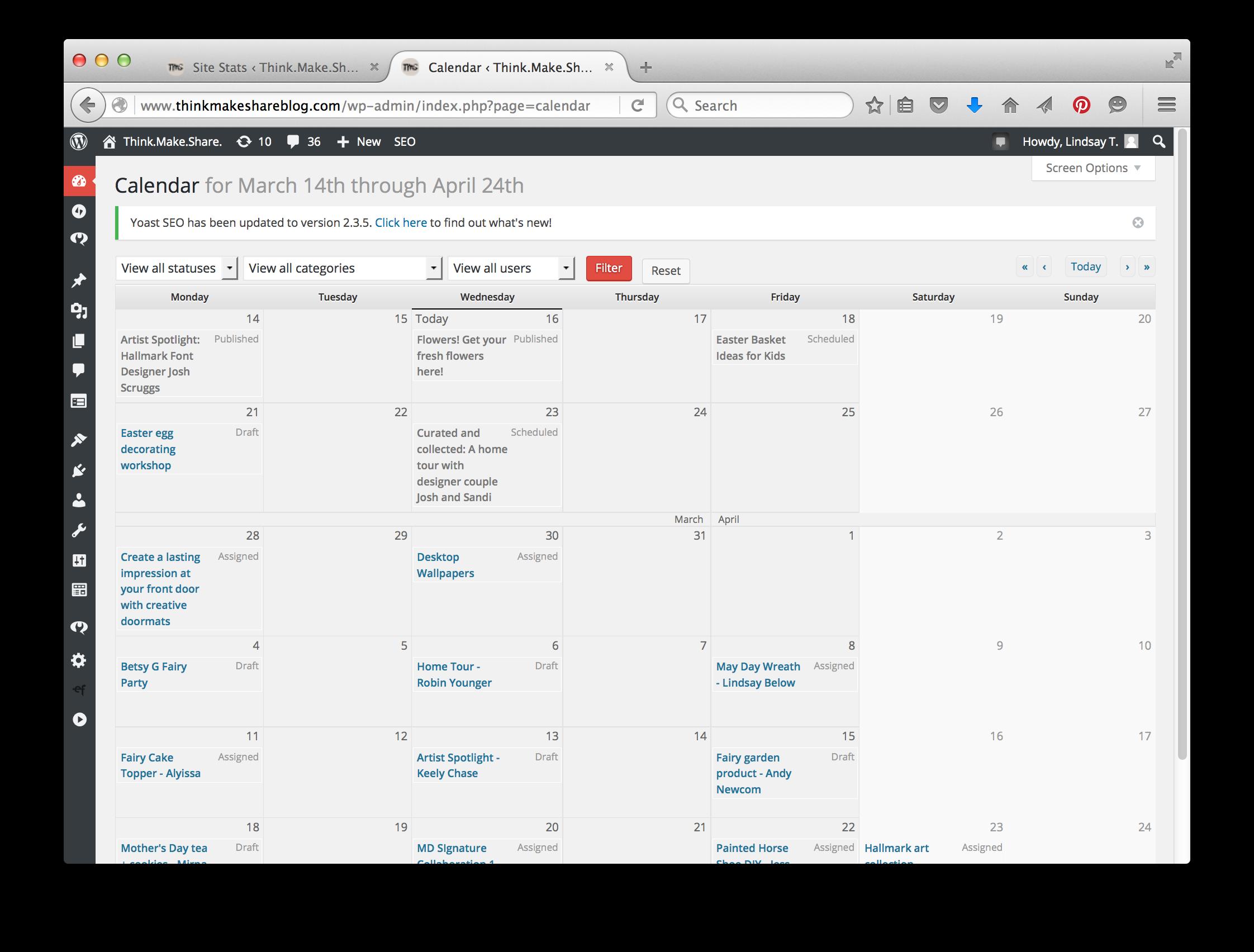 Wordpress : Content Calendar