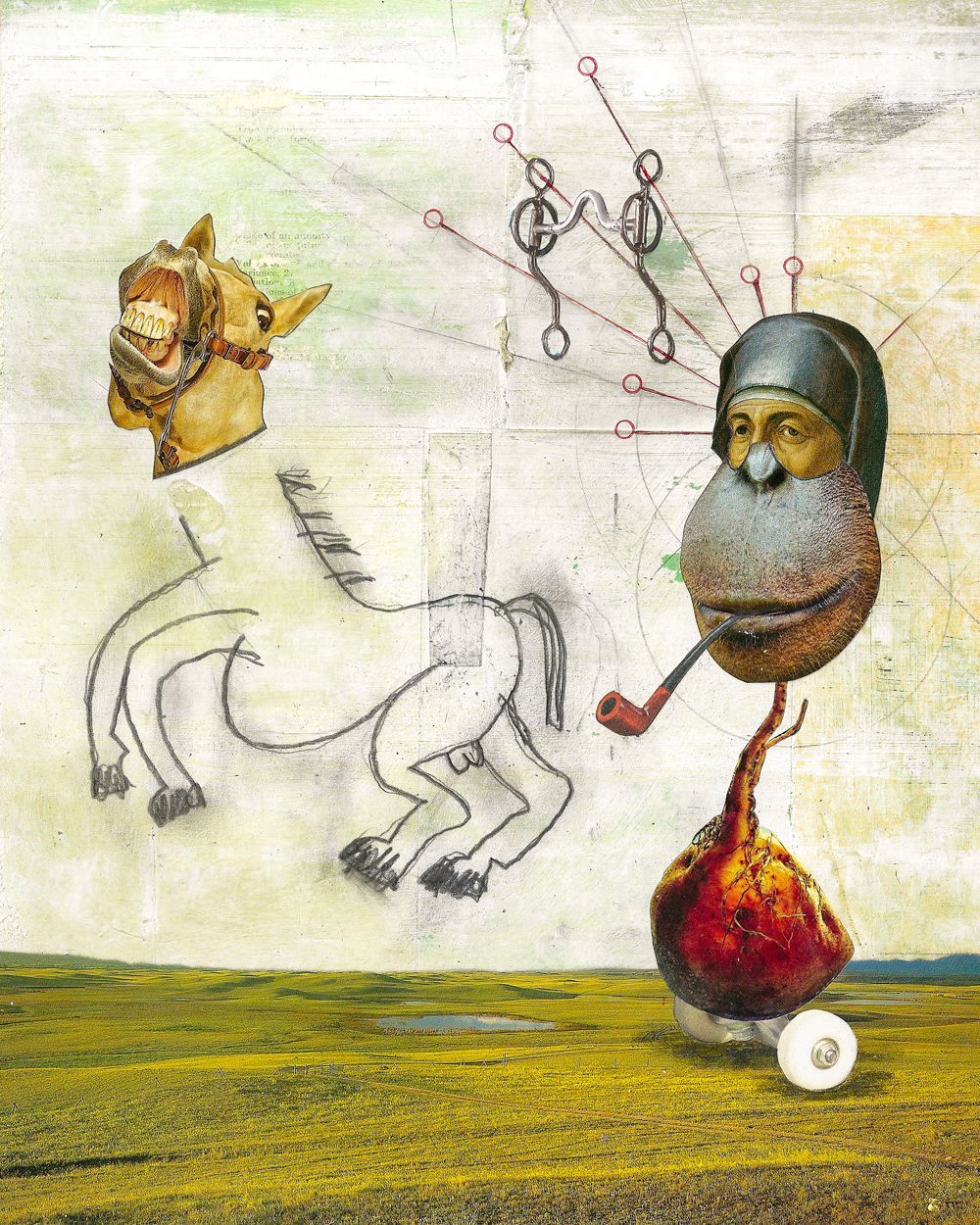 """Picasso Horse - This collage began as a sketch, but it caught the attention of a publisher I had worked with previously and they liked it enough to use it for the cover of a book on gambling. The book is now out of print, but I think it was titled, The Handicapper's Guide To Chariot Racing.Anyway, the horse has changed. The horse did not have that look of horror on its face when I made this collage. At that time, the horse was happy, or at least normal—I don't know much about horses—now, however, he looks positively terrified.The reason for the terror, I've gathered, is because the horse has learned that his body was not drawn by Picasso but by me. Apparently he was under the impression that he was a great work of art and worth a lot of money. Upon learning that he isn't a Picasso, he's become rather violent. I know where his confusion comes from, but I swear we talked about this.What happened was I was at LACMA walking past a Picasso when I overheard someone say: Pfft, my kid could do that.I've heard the sentiment many times and I always think, yeah your kid could do that, your mom could do that, anybody could do that—but they did not do that, Picasso did that.And that's when it suddenly occurred to me: wait, can I do that?I've always presumed I can do that, but I had to admit I had never tried. Seems pretty easy. But then Picasso did once say: it took me four years to paint like Raphael, but a lifetime to paint like a child.Is making child art that difficult? I decided to find out by trying to replicate a childish Picasso.The image I chose to copy was a drawing titled, """"Battle Of The Centaurs III,"""" which features a couple of ham-fisted centaurs scrawled with a stubby pencil—just garbage. My attempt isn't exactly like Picasso's horse, but it's """"close enough for jazz,"""" as I like to say. (I like to say that because jazz sometimes sounds like a group of people learning how to play their instruments.)I thought the horse understood his body's provenance, but apparently """