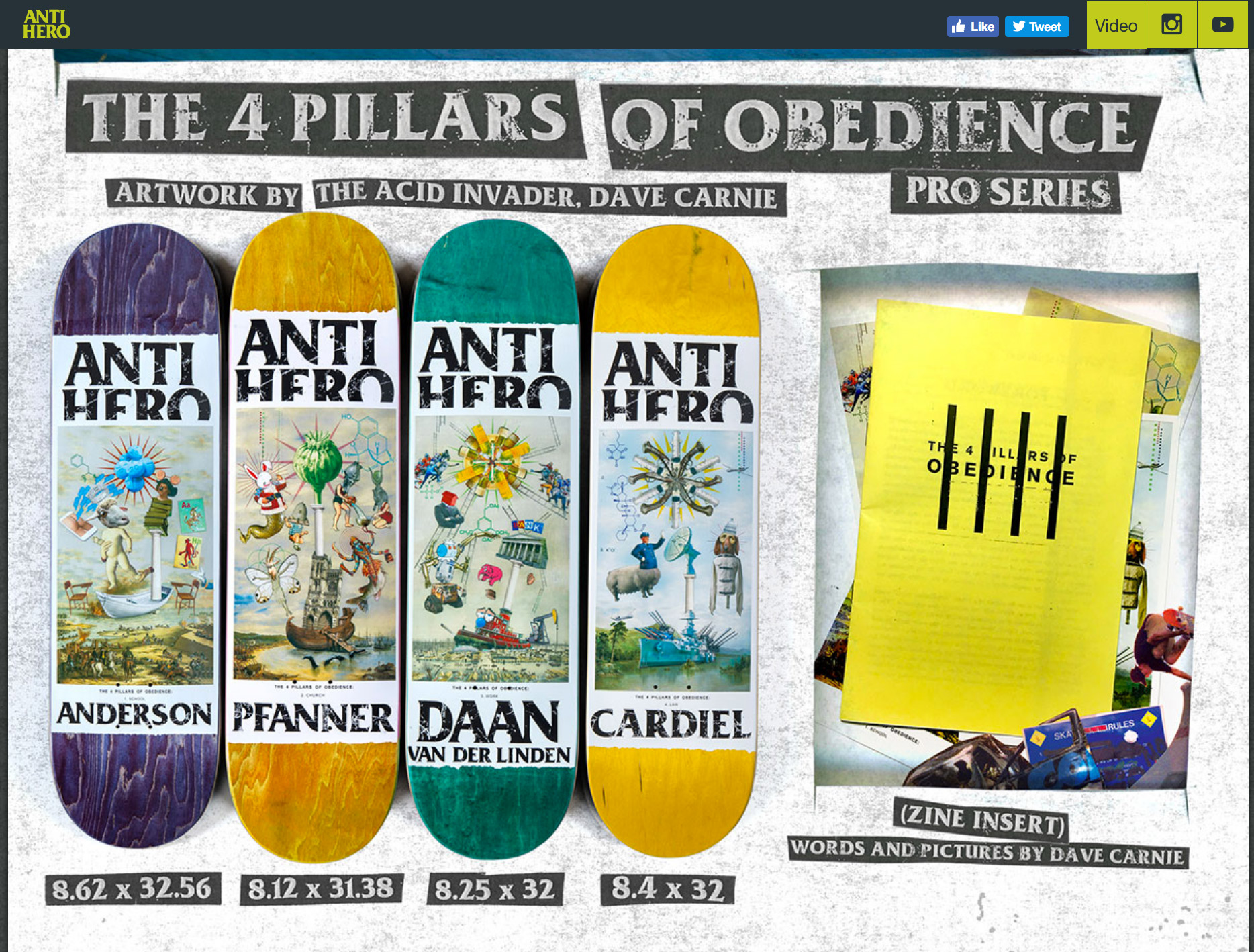 "Four graphics for Antihero collection. Each board was packaged with AH stickers, postcards of all four graphics, and a zine containing the original ""The 4 Pillars Of Obedience"" text (collages and zine text below)."