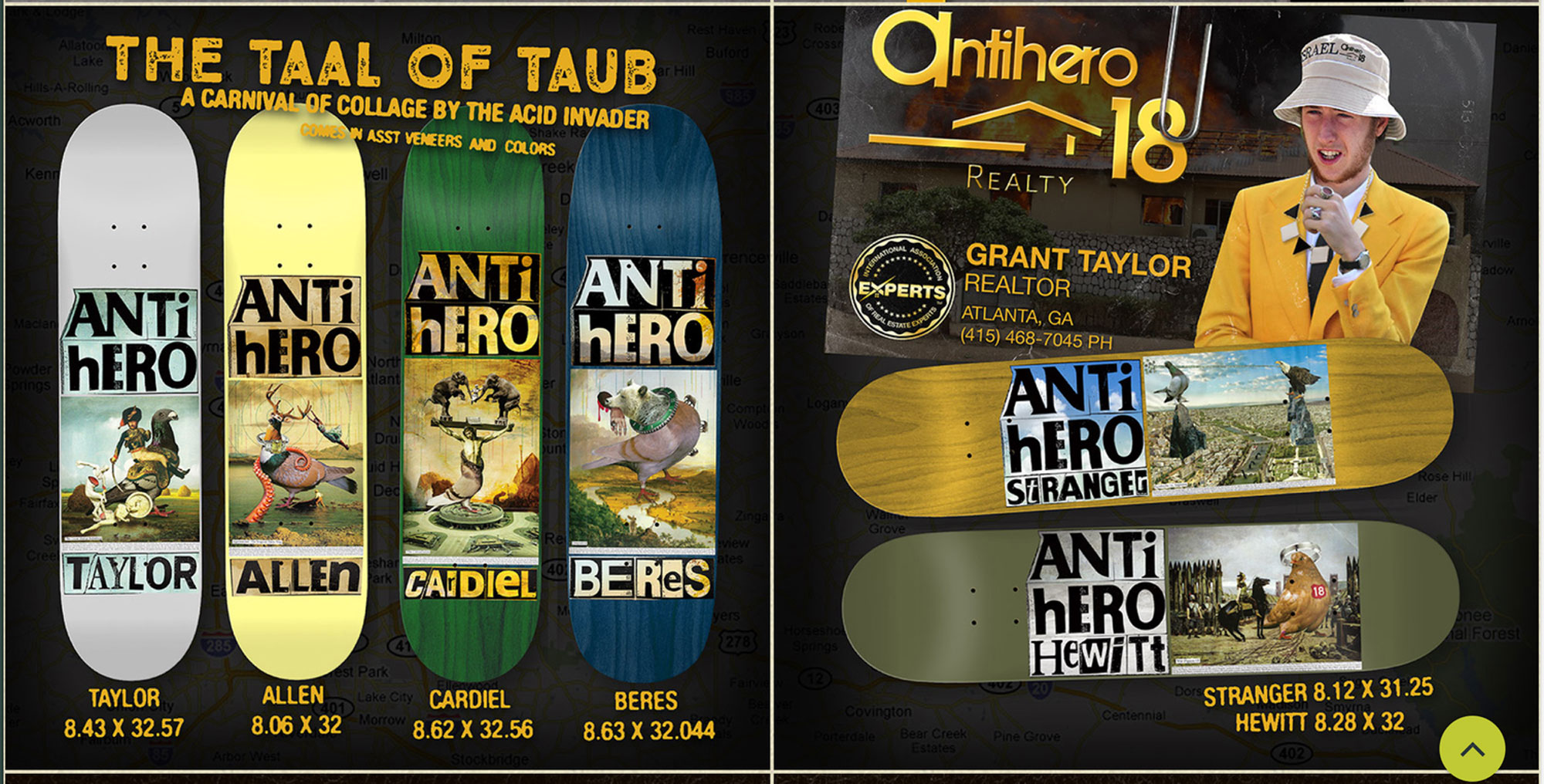 """I was honored be asked to create a series of boards for Antihero—so excited that I kind of tinkled in my pants a little bit when the box of boards arrived at my house. No dachshunds here. Pigeons: the Antihero mascot (ala Todd Francis). Magnificent, majestic, monstrous pigeons. A note on the title, """"The Taal Of The Taube,"""" since a couple people have asked what it means:   Taal (Dutch) = language.   Taube (German) = pigeon.   Taub (German) = deaf.    A Tale Of A Tub  = Jonathan Swift.   I have no idea what any of that means, but it sounded cool at the time."""