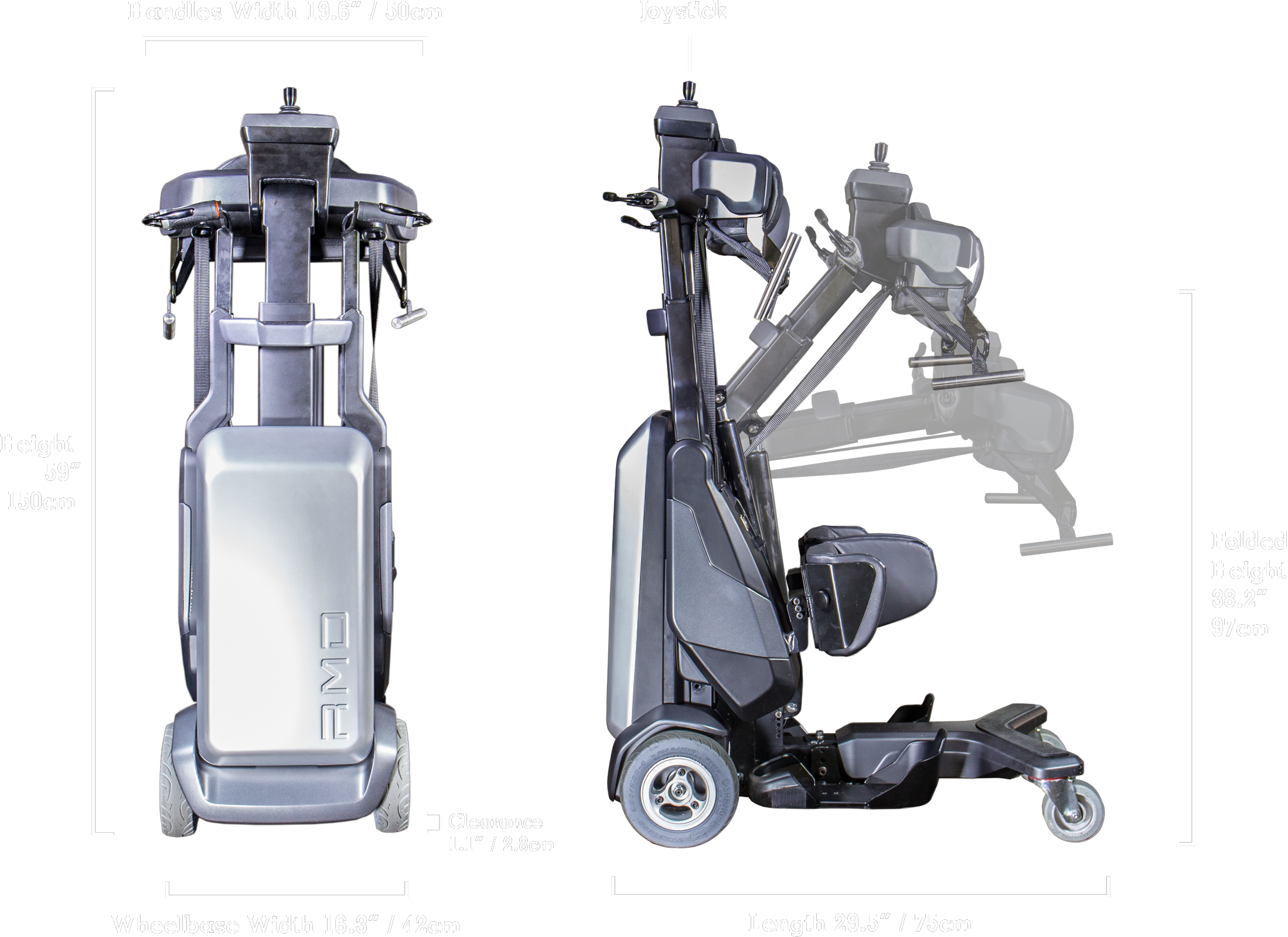 The Tek RMD is set up to suit the stature of the user and is narrower and shorter than a wheelchair