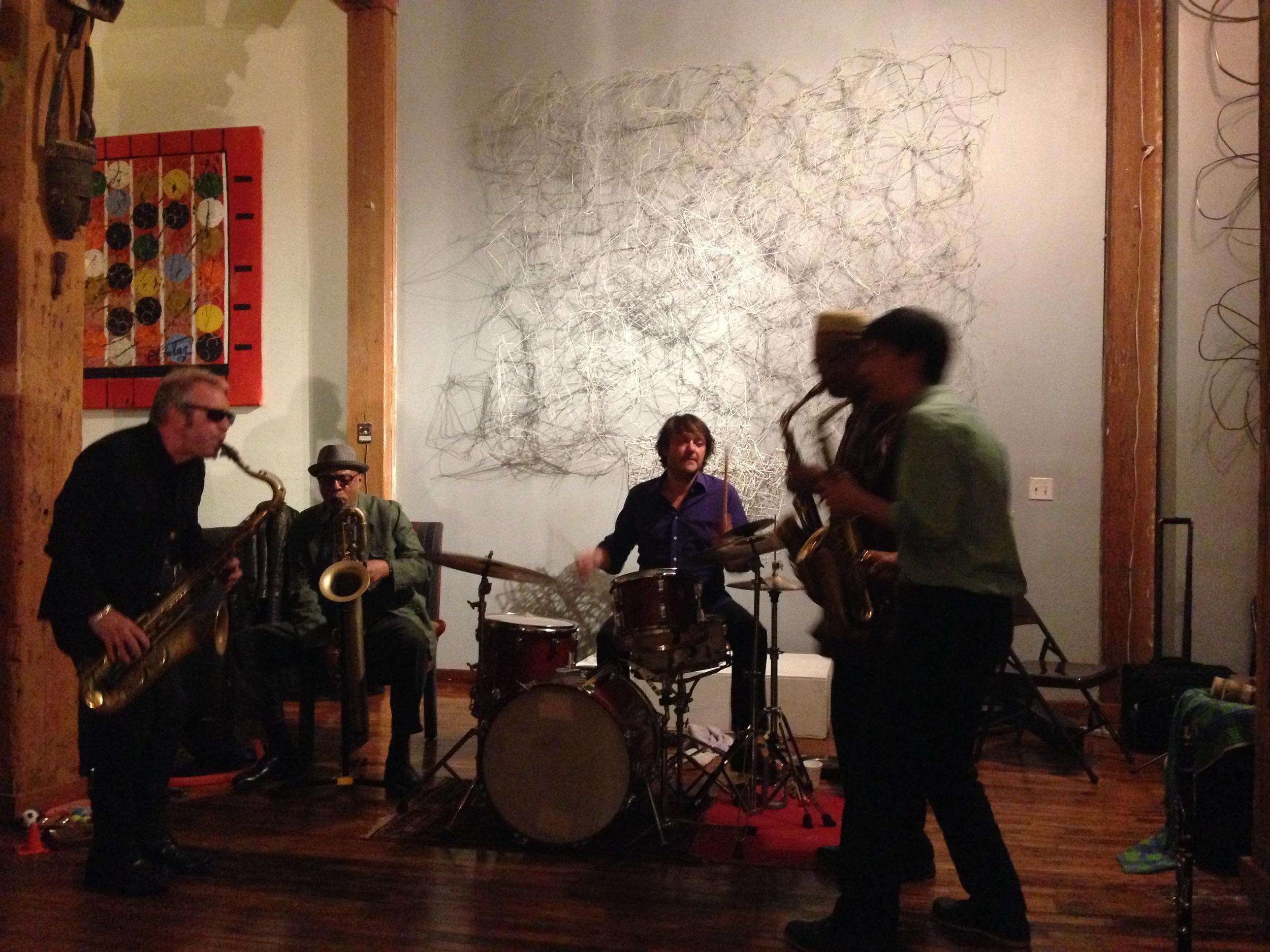 Mars Williams, Hammiet Bluette, Ernest Khabeer Dawkins & Antonin-tri Hoang (saxophones, clarinets), Samuel Silvant (drums)