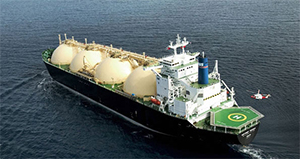Figure 4.  Liquid Natural Gas storage tanks visible on a LNG carrier (not the Bu Samra)