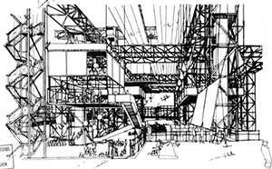 Figure 5. Fun Palace, perspective. Cedric Price, 1964