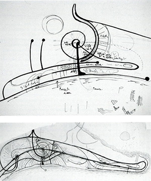 Figure 6. Concept sketches for Lignano Pineta by Marcello D'Olivo, showing the town's curvilinear forms expanding along the coast.