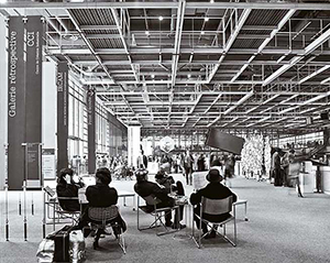 Figure 15. Interior view of the Pompidou showng the large, column-free span of a typical floor.