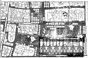 Figure 16. Rotated site plan showing the building occupying the edge of its site