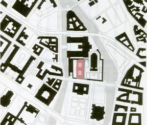 Figure 4. Site plan showing the museum's location (in red) on Museum Island