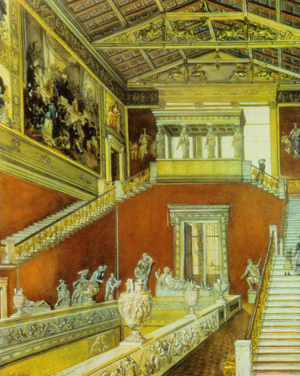 Figure 5. Watercolor depicting the original condition of the grand hall