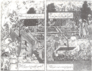 Figure 13 . Mugal Miniature from the 17th centuryshowing the emperor Babur supervising construction of his walled garden