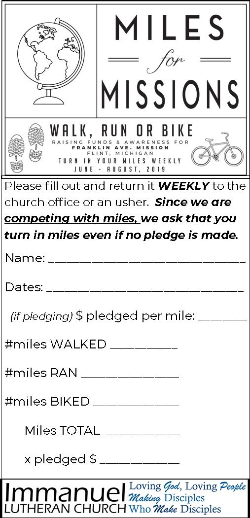 Save and print the pledge card to log your weekly miles