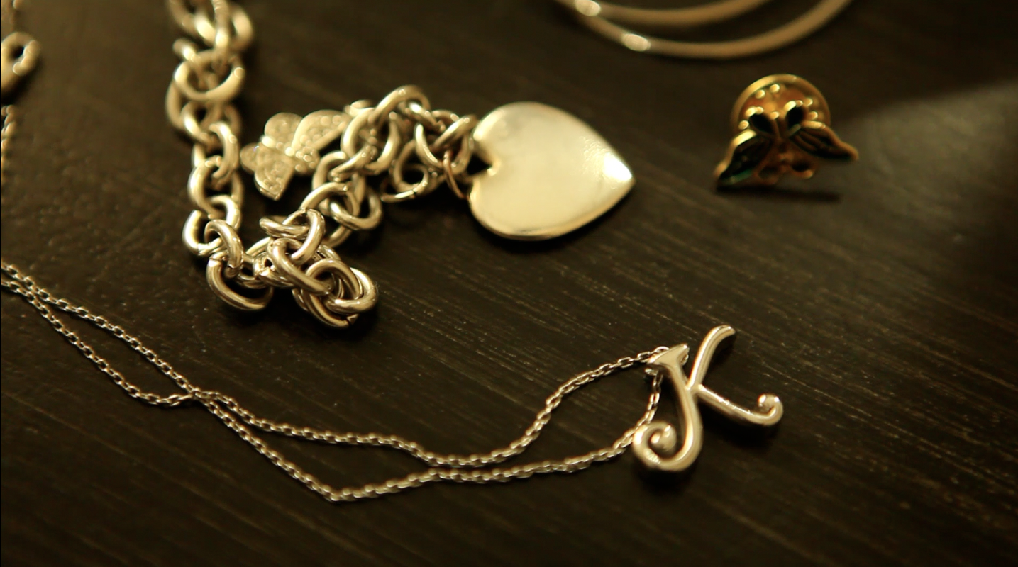 Mary's jewelry honoring her daughter, Kelly, in our New York Organ Donor Network film.