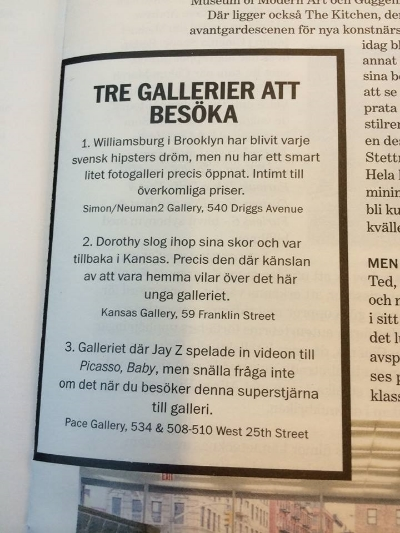 "Swedish Magazine Nöjesguiden (""The Galleries to Visit"")"