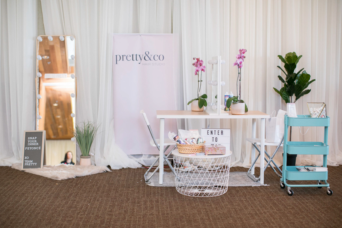 pretty and co bridal hair and makeup mobile booth at first look autumn wedding show