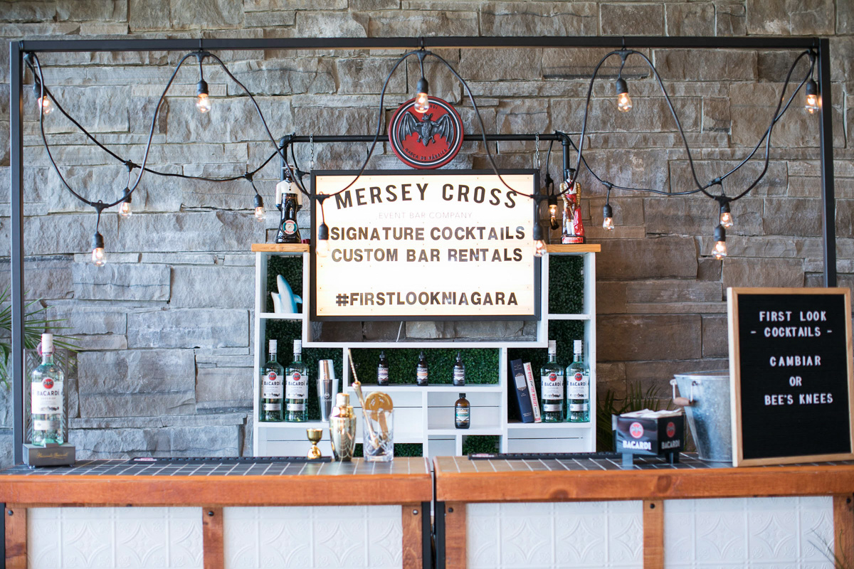 mersey cross event bar setup with string lights