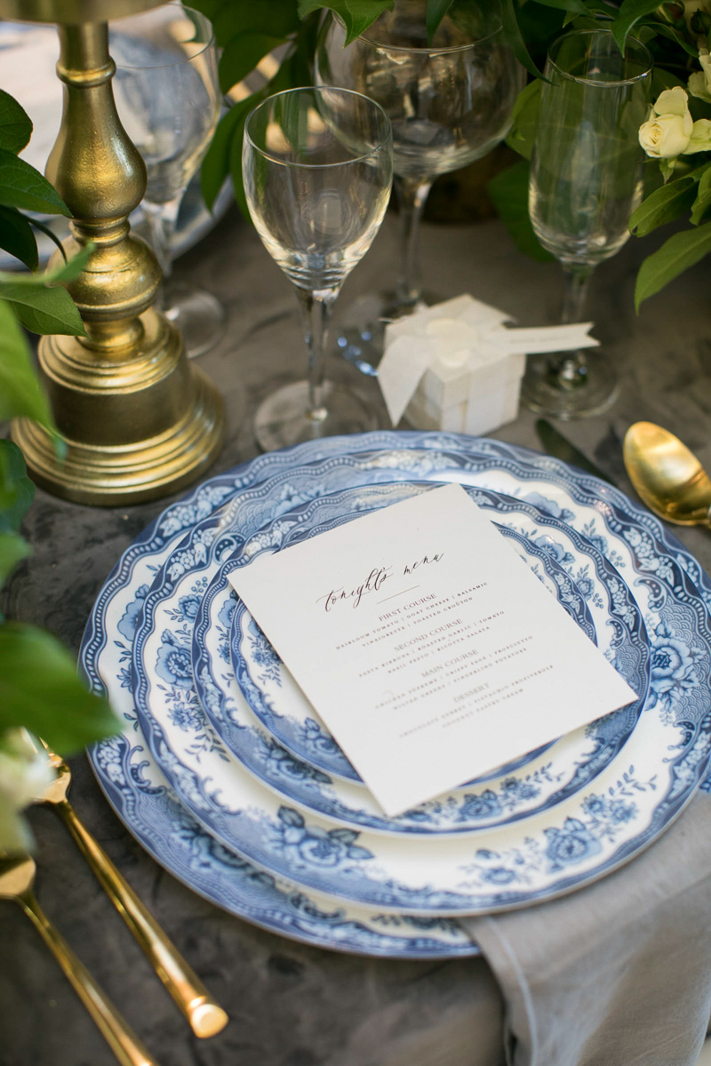 wedding day place setting and menus