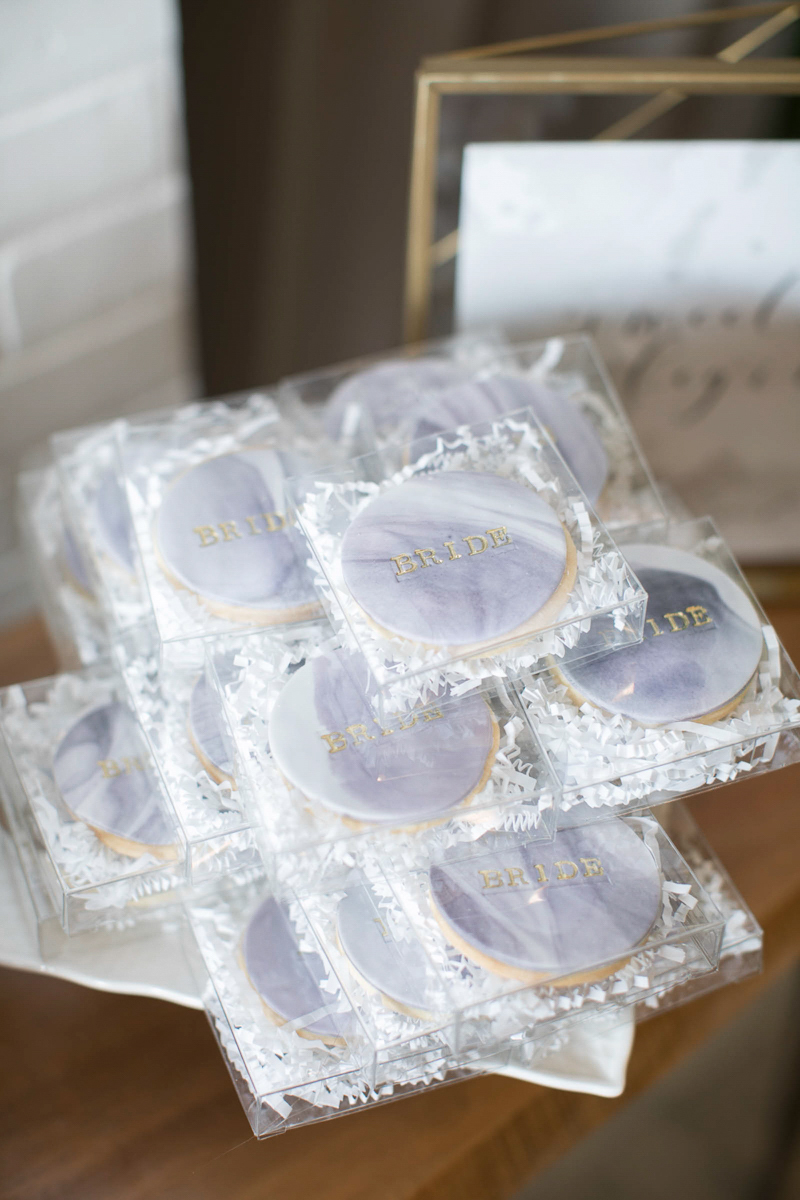 bride cookies at the first look autumn wedding show