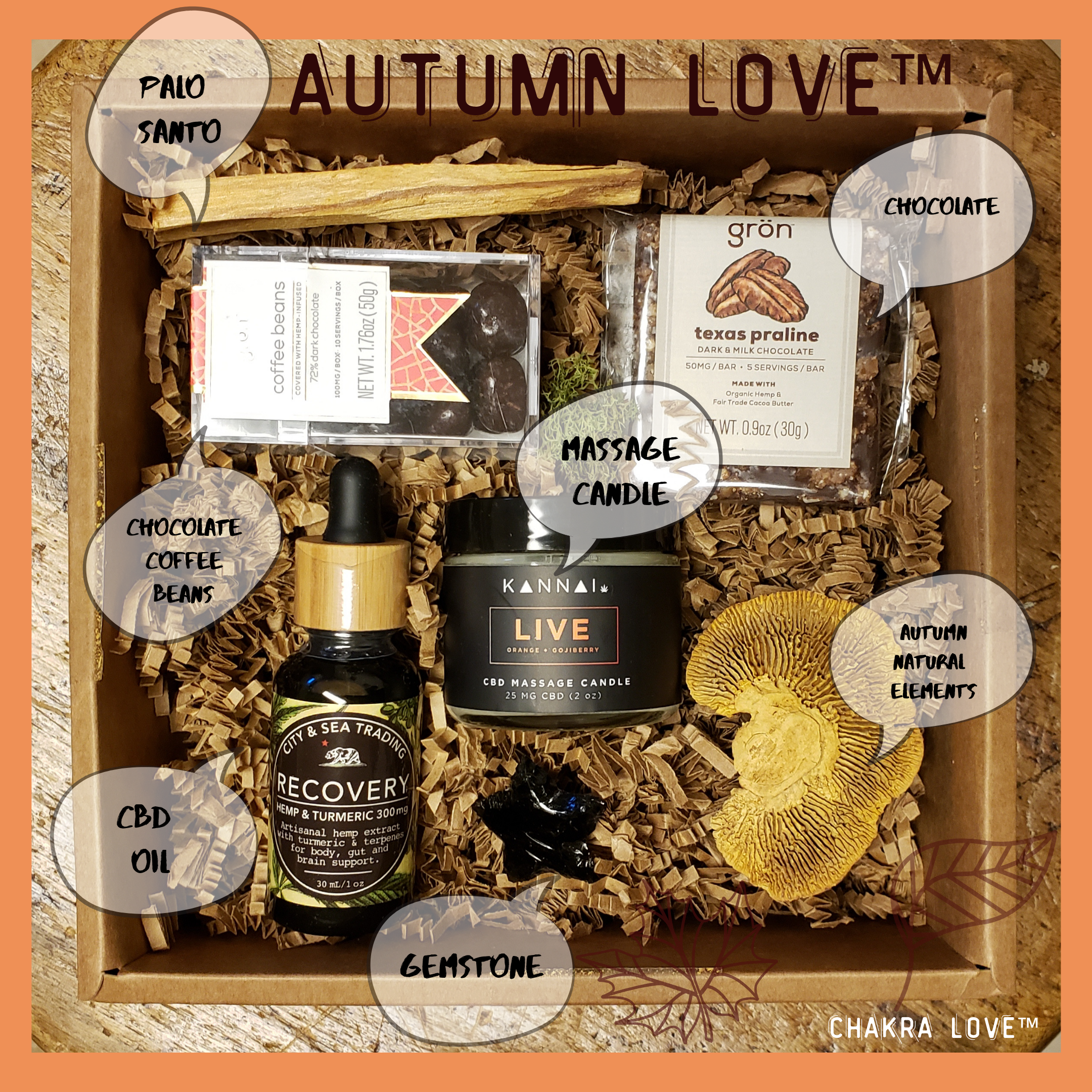 - I am falling in love… the Autumn box includes finely curated CBD goods (massage oil candle, chocolate, oil tincture, espresso beans and more.)