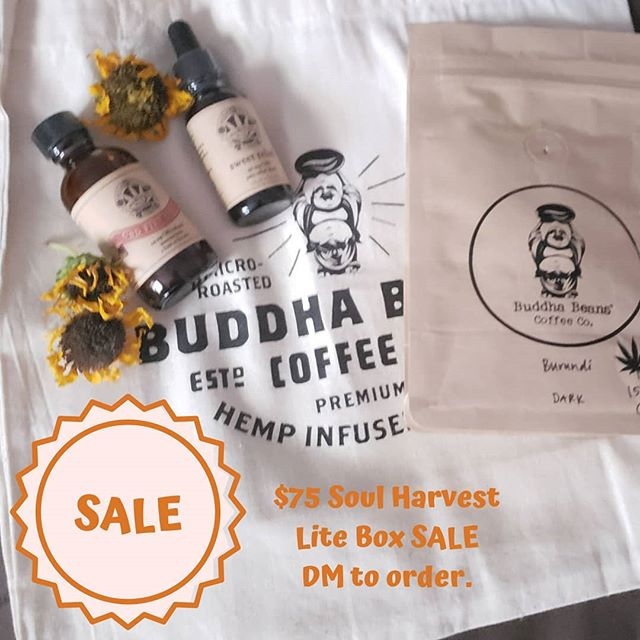 SALE 🍁 Snag our Soul Harvest Lite Box for $25 off. DM to order. CBD coffee, fire cider and pain elixir. Limited stock. #cbdsale #cbdfirecider #cbdforpain  #legalizemarijuana #womeninweed #womenincannabis #ganjagoddess #cbd #chakracbd #cannabisheals #cannabiscommunity #cannabisculture #hightimes #cbdmonthlybox #chakralove #chakralovecannabis #subscriptionbox #chakrasandcannabis #chakrascannabischart #chakralover #chakralovepopupparty #cbdhomeparty #420 #maryjane #chakralovebasics #chakralovecbdbox #chakralover