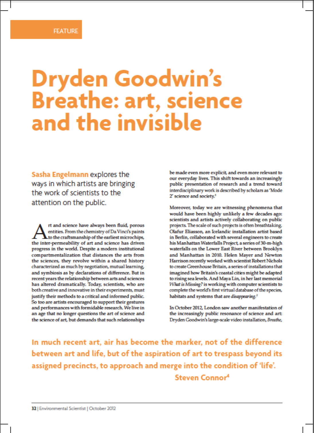 "Title page: ""Dryden Goodwin's Breathe: art, science and the invisible"""