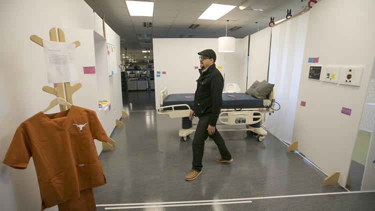 Beto Lopez in one of the patient room prototypes