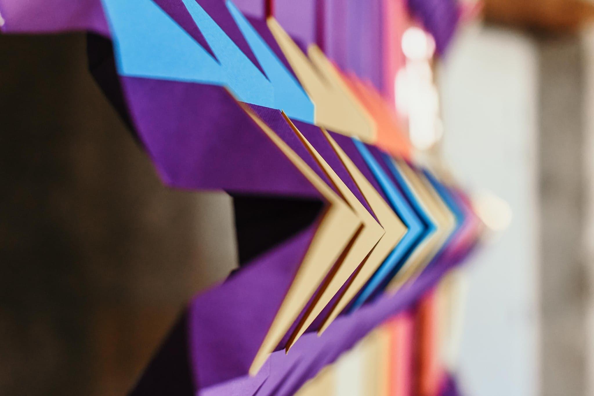 Miss cloudy paper art installation mural folding kente