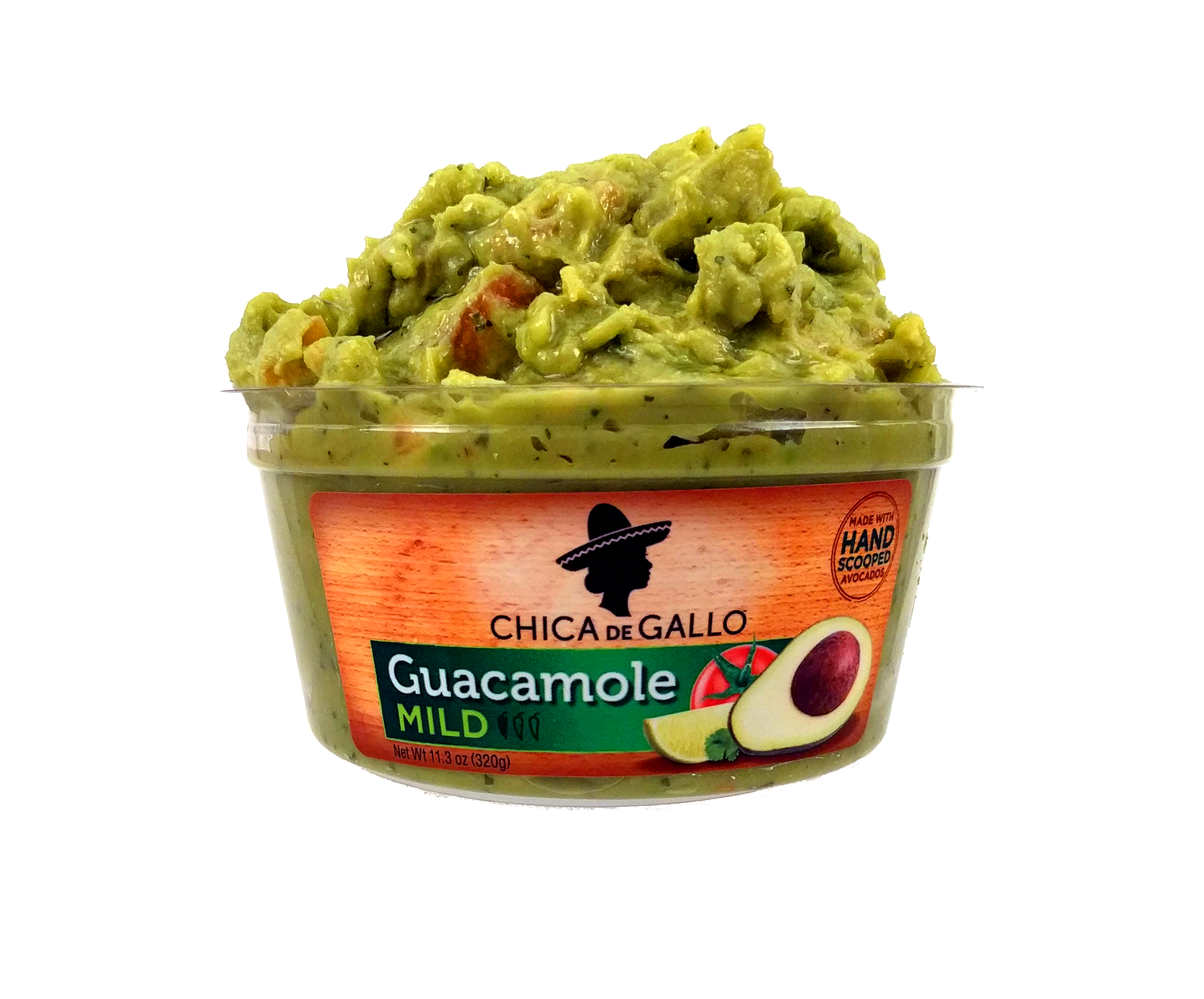 MILD GUACAMOLE - Perfectly mild avocado perfection.Ingredients: Avocado, Tomatoes, Onions, Lime Juice, Peppers, Sea Salt, Garlic, CilantroAvailable Sizes: 11.3oz and 6.6oz