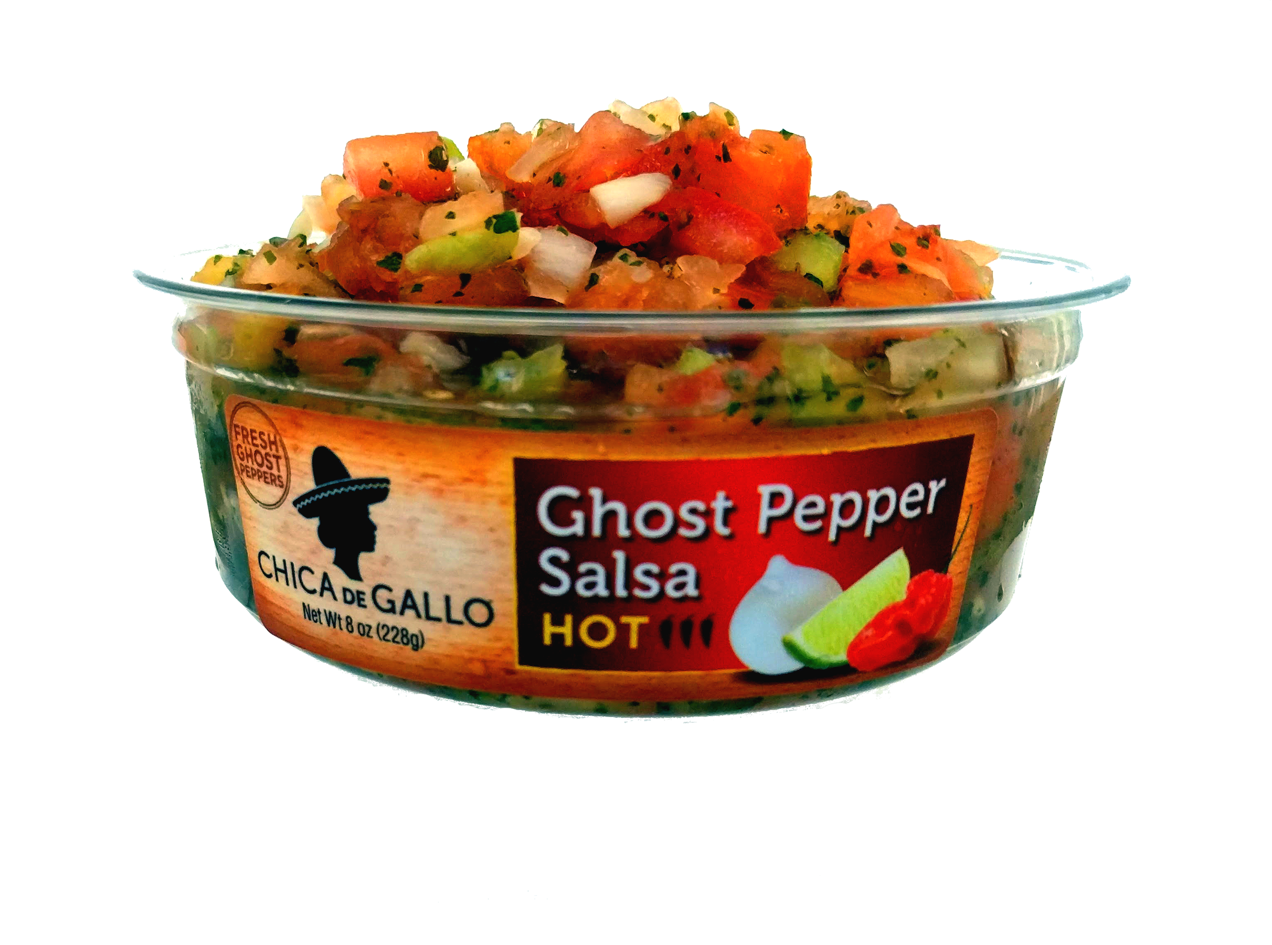 GHOST PEPPER SALSA - This salsa has just enough heat so that the fresh flavors still shine through the spice. Ingredients: Tomatoes, Onions, Jalapeño Pepper, Peppers, Lime Juice, Garlic, Sea Salt, Cilantro, Ghost Pepper