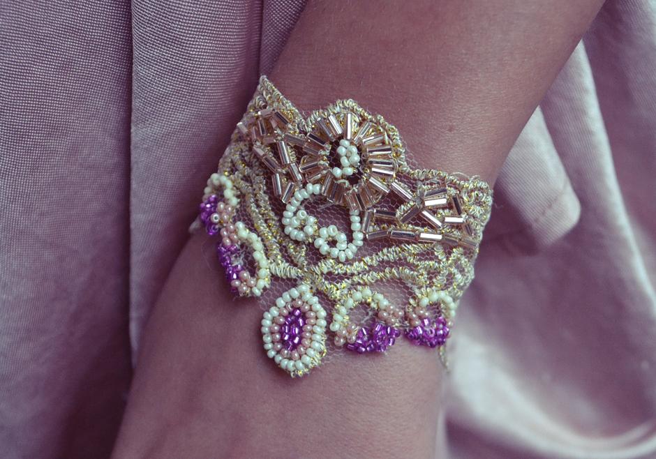 Beaded Gold Lace Bracelet