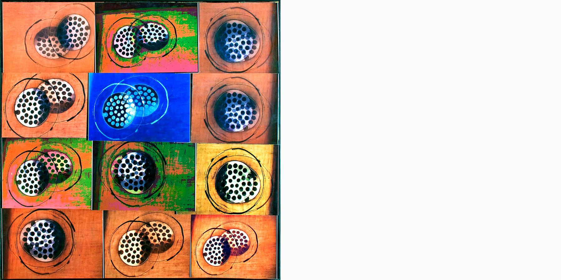 Deborah Cahn,     Floor Drain in the Women's Restroom at the Couger Mountain Zoo  ,   collage, 2014