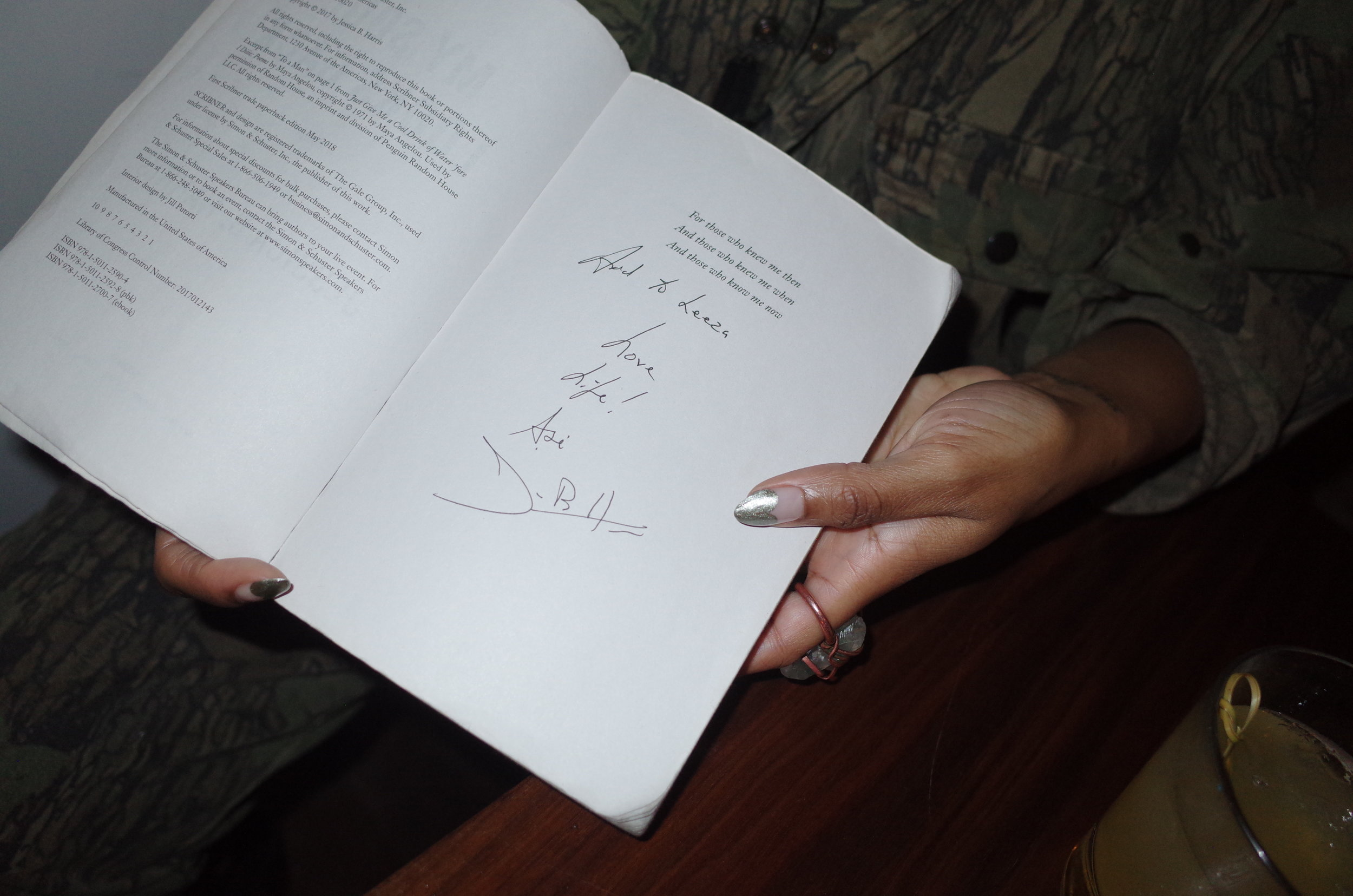 Signed copy of the book My Soul Looks Back, currently inspiring Joneé