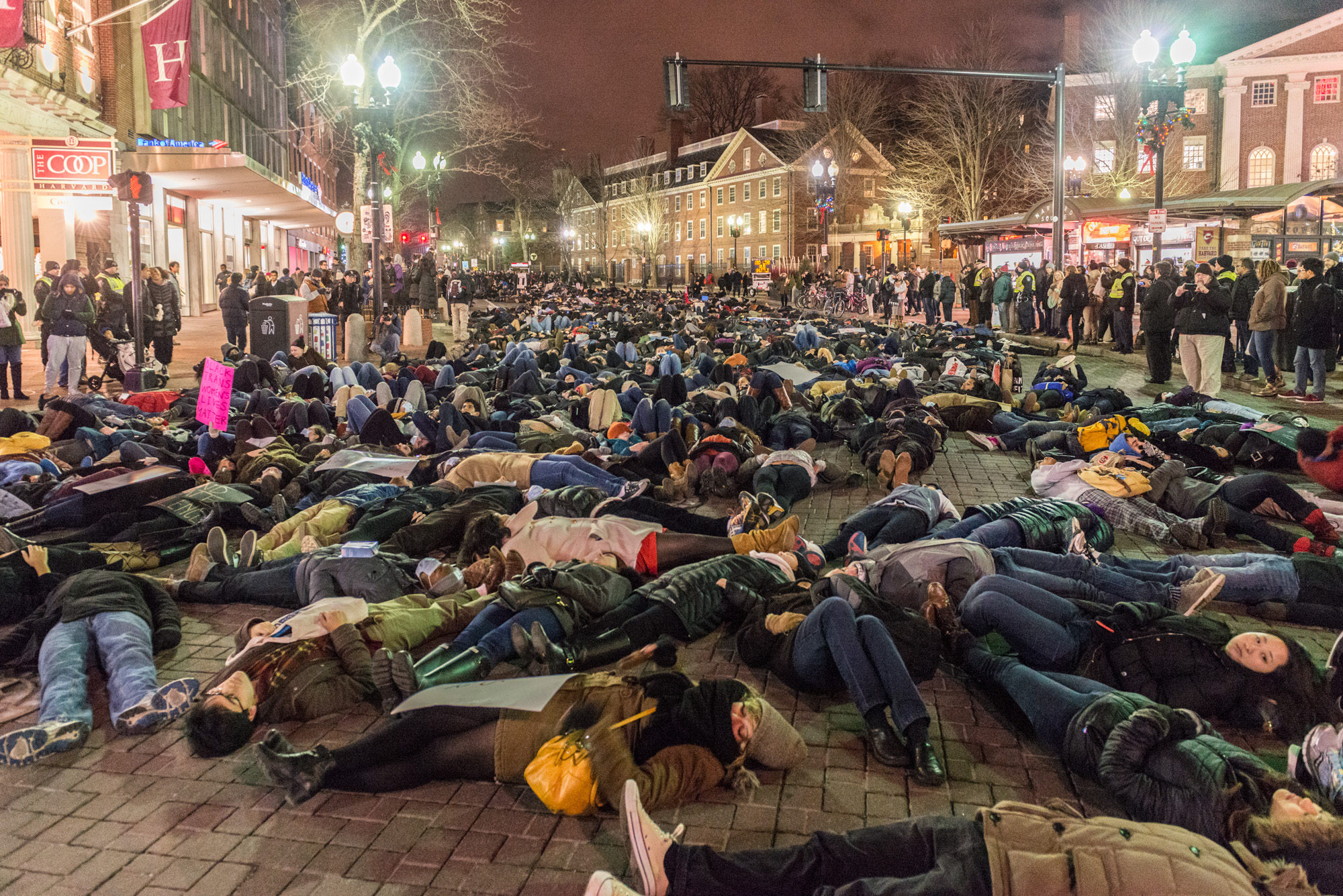 The first of four die-ins around Cambridge