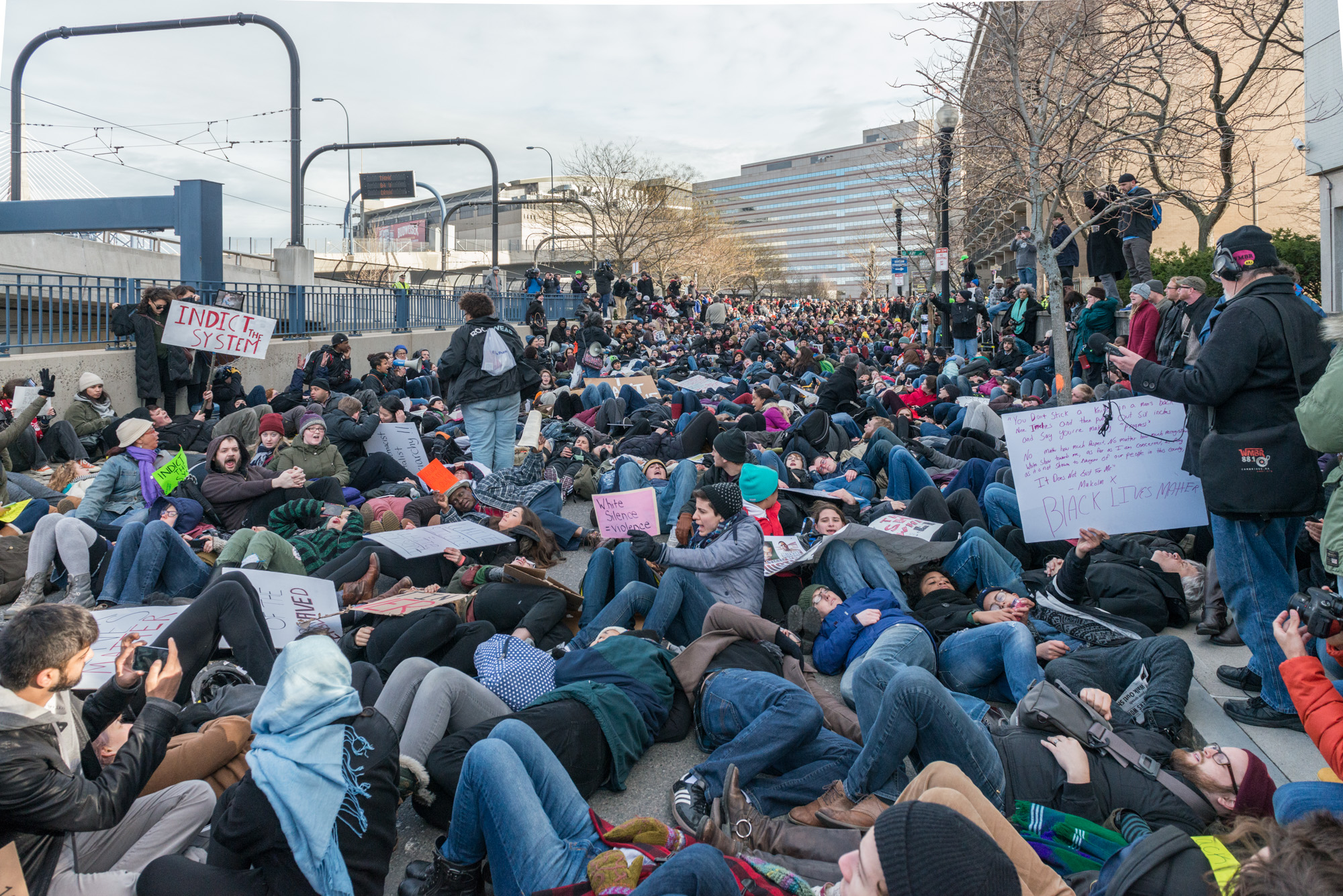 First of several die-ins after the march was stopped by a police barricade