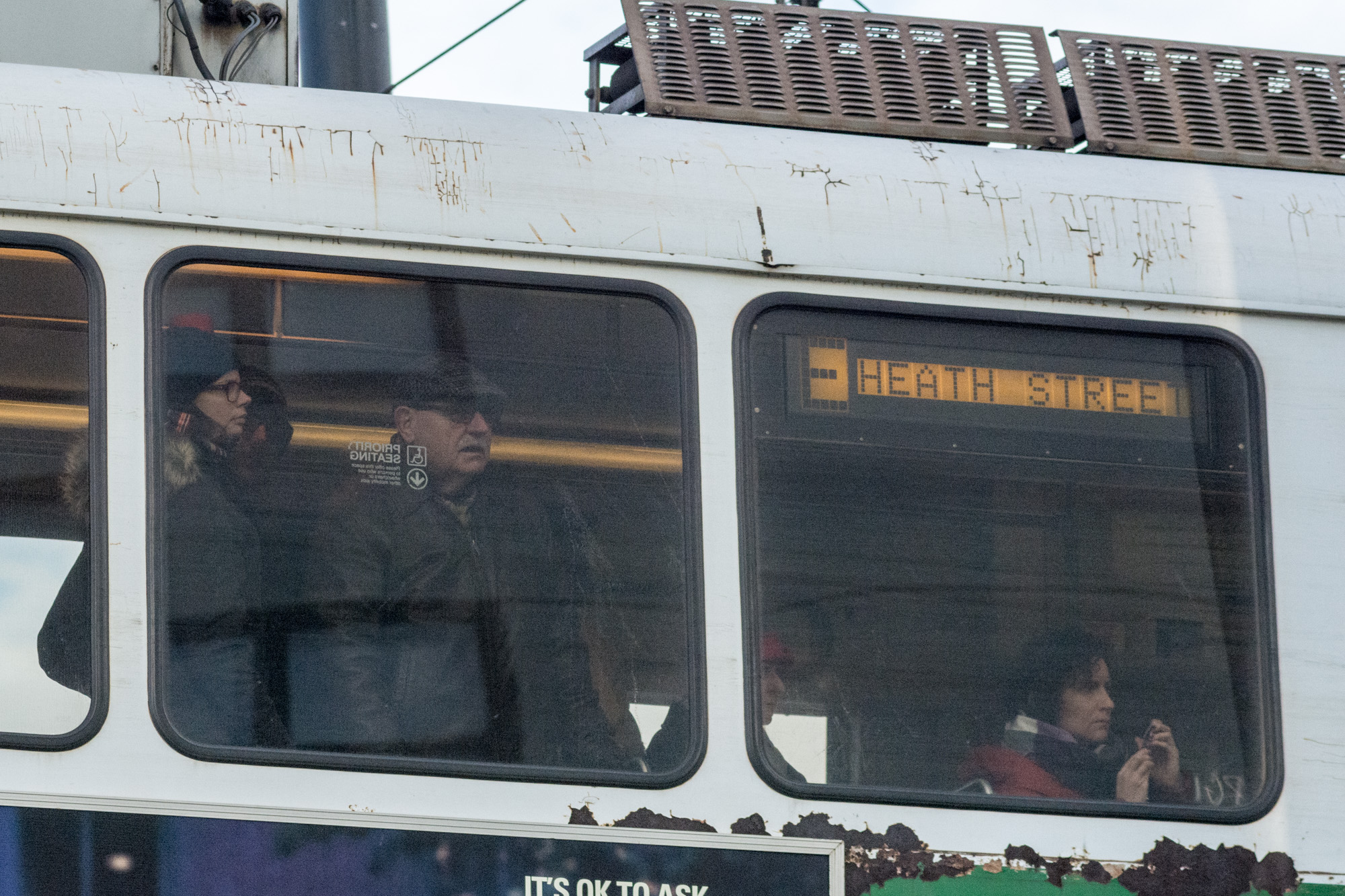 Train passengers watching the protesters on Martha Rd.