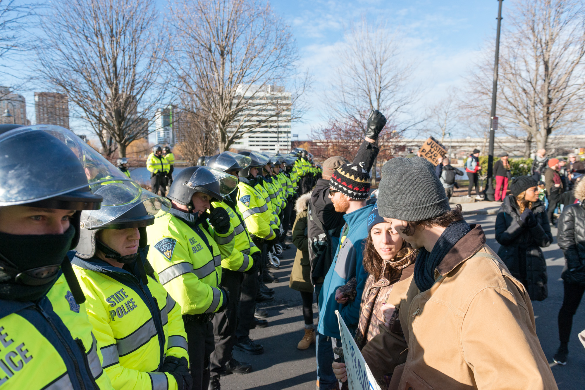 Protesters filled Nashua St. face to face with the police arrayed in front of them